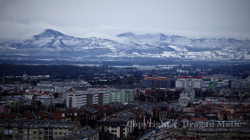 Snow on the mountain near Croatian capital Zagreb.
