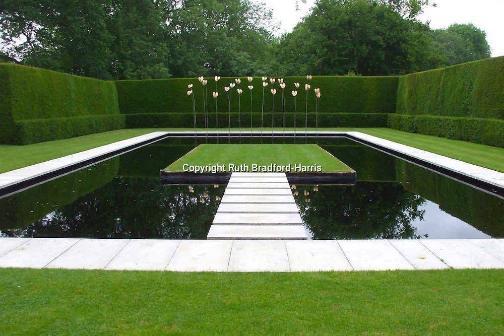 A modern, minimalist pool garden with raised, apparently 'floating' steps and grass platform. <br />