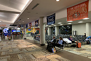 Apr 24, 2019; Nashville, TN, USA; General overall view of Los Angeles Rams, Kansas City Chiefs, Denver Broncos and San Francisco 49ers flags at Concourse C of the Nashville nternational Airport (BNA) prior to the 2019 NFL Draft.