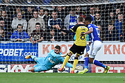 Ipswich Town goalkeeper Bartosz Bialkowski (33) saves from Burton Albion midfielder Matthew Lund's (8) shot during the EFL Sky Bet Championship match between Burton Albion and Ipswich Town at the Pirelli Stadium, Burton upon Trent, England on 28 October 2017. Photo by Richard Holmes.