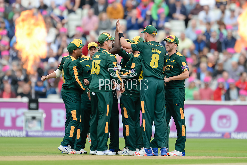 Notts Outlaws celebrate during the NatWest T20 Blast Semi Final match between Nottinghamshire County Cricket Club and Northamptonshire County Cricket Club at Edgbaston, Birmingham, United Kingdom on 20 August 2016. Photo by David Vokes.