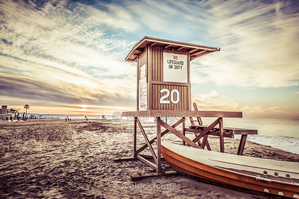 Newport Beach lifeguard tower 20 retro picture. Newport Beach is on the California coast in Orange County, Southern California. Photo has a retro 1960's vintage tone.