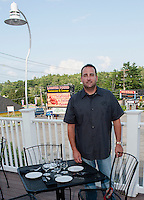 Richard Ray Proprietor on the deck of the Lobster Pound Seafood and Italian Cuisine at Weirs Beach.   (Karen Bobotas/for the Laconia Daily Sun)