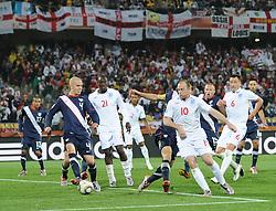 12.06.2010, Royal Bafokeng Stadium, Rustenburg, RSA, FIFA WM 2010, England (ENG) vs USA (USA), im Bild Wayne Rooney of England is held up by the USA defence, EXPA Pictures © 2010, PhotoCredit: EXPA/ IPS/ Mark Atkins / SPORTIDA PHOTO AGENCY