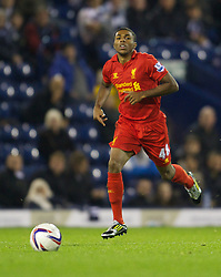 WEST BROMWICH, ENGLAND - Wednesday, September 26, 2012: History in the making? Liverpool's Jerome Sinclair becomes the youngest ever player to appear for the Reds, aged 16 years and 6 days during the Football League Cup 3rd Round match against West Bromwich Albion at the Hawthorns. (Pic by David Rawcliffe/Propaganda)