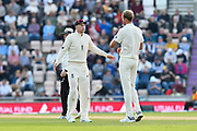 Joe Root of England talks to Stuart Broad of England as England take the new ball during day two of the fourth SpecSavers International Test Match 2018 match between England and India at the Ageas Bowl, Southampton, United Kingdom on 31 August 2018.