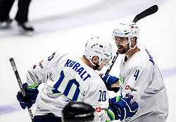 Anze Kuralt of Slovenia and Aleksandar Magovac of Slovenia celebrate during ice hockey match between Hunngary and Kazakhstan at IIHF World Championship DIV. I Group A Kazakhstan 2019, on May 3, 2019 in Barys Arena, Nur-Sultan, Kazakhstan. Photo by Matic Klansek Velej / Sportida