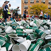 November 1, 2015 - New York, NY : Plastic cups are piled high, along 5th Ave., near E 119th St. in Harlem during the 2015 TCS New York City marathon on Sunday.<br />  CREDIT: Karsten Moran for The New York TImes