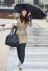 "© Licensed to London News Pictures . 01/03/2016 . Manchester , UK . Hollyoaks actress JENNIFER METCALFE arrives in the rain to launch a national fundraiser , "" The Better Bike Challenge "" from the East Manchester Leisure Centre in Beswick . The Challenge features 10,000 people cycling one-mile , each donating £1 to #TeamBetter for Sport Relief . Photo credit : Joel Goodman/LNP"
