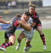 Jay Pitts of Bradford Bulls is brought down by Danny Kirmond (R) of Wakefield Trinity Wildcats during the First Utility Super League match at Odsal Stadium, Bradford<br /> Picture by Richard Land/Focus Images Ltd +44 7713 507003<br /> 01/06/2014