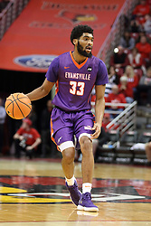 03 February 2018:  K.J. Riley during a College mens basketball game between the Evansville Purple Aces and Illinois State Redbirds in Redbird Arena, Normal IL
