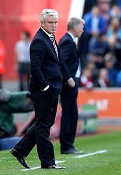 Stoke City manager Mark Hughes looks sternly down the line - Mandatory by-line: Robbie Stephenson/JMP - 15/10/2016 - FOOTBALL - Bet365 Stadium - Stoke-on-Trent, England - Stoke City v Sunderland - Premier League
