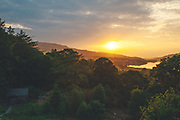 Sunset looking to Llyn Padarn Lake from Dolbadarn Castle, Snowdonia National Park in North Wales