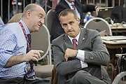Campaign manager Corey Lewandowski in the media holding area during a Donald Trump campaign event in Columbus, Ohio. He was campaign manager of Donald Trump's 2016 campaign for President of the United States from January 2015 to June 2016.