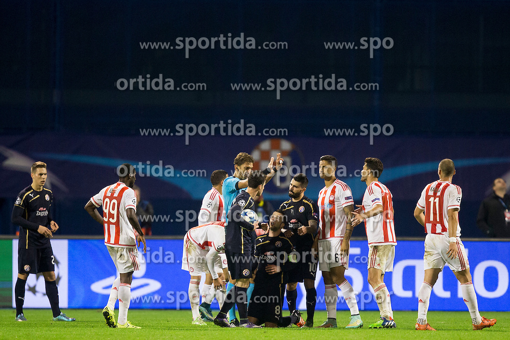 During football match between GNK Dinamo Zagreb and Olympiakos in Group F of Group Stage of UEFA Champions League 2015/16, on October 20, 2015 in Stadium Maksimir, Zagreb, Croatia. Photo by Urban Urbanc / Sportida