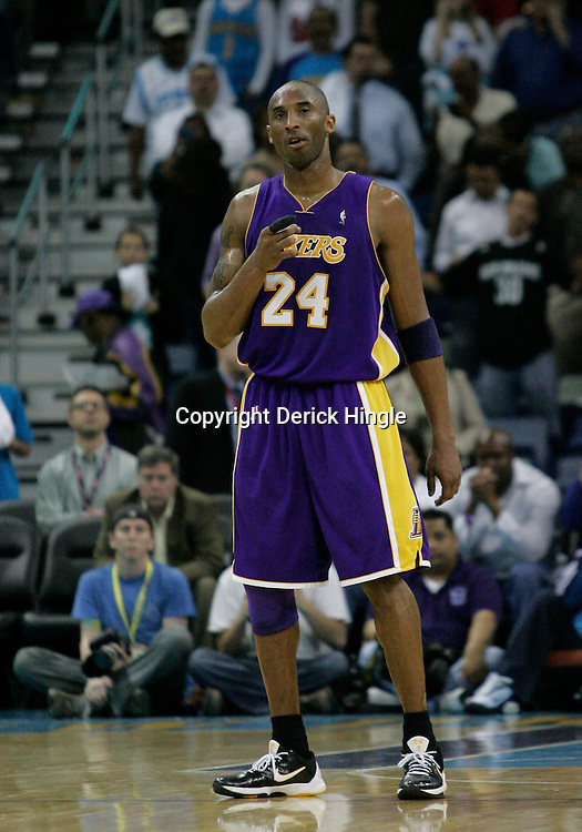 Mar 29, 2010; New Orleans, LA, USA; Los Angeles Lakers guard Kobe Bryant (24) on the court during the first half against the New Orleans Hornets at the New Orleans Arena. Mandatory Credit: Derick E. Hingle-US PRESSWIRE