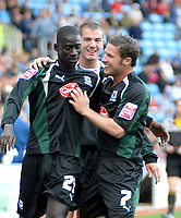 Photo: Ed Godden.<br />Coventry City v Plymouth Argyle. Coca Cola Championship. 30/09/2006. Cherno Samba (L) celebrates his goal for Plymouth with team mate David Norris.