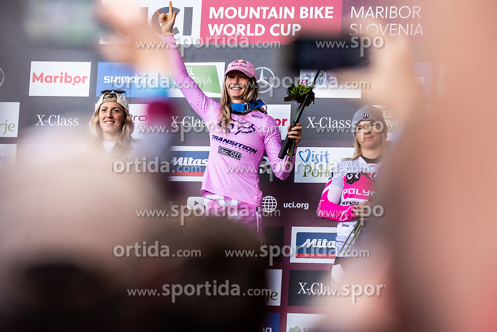 Rachel Atherton of Great Britain, Tahnee Seagrave of Great Britain and Tracey Hannah of Australia during trophy ceremony Mercedes-Benz UCI Mountain Bike World Cup competition final day in Bike Park Pohorje, Maribor on 28th of April, 2019, Slovenia.  . Photo by Grega Valancic / Sportida