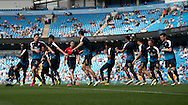 The Arsenal team warm up before the Barclays Premier League match at the Etihad Stadium, Manchester<br /> Picture by Russell Hart/Focus Images Ltd 07791 688 420<br /> 08/05/2016