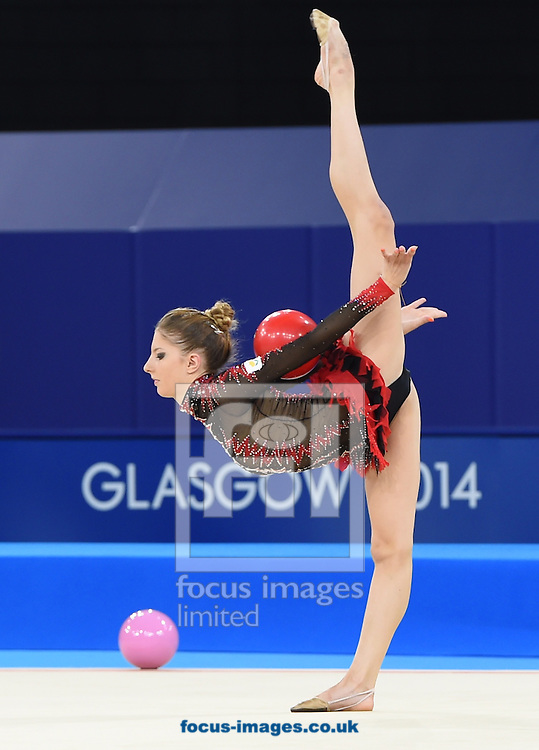 Themida Christodoulidou CYP during her performance in the Rhythmic Gymnastics ball final at SSE Hydro, Glasgow<br /> Picture by Alan Stanford/Focus Images Ltd +44 7915 056117<br /> 26/07/2014