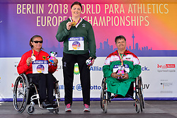 From left to right Martina Willing, GER, Silver Medal, Orla Barry, IRE, Gold Medal, Ivanka Koleva, BUL, Bronze Medal.  Medal ceremony for the F57 Discus at the Berlin 2018 World Para Athletics European Championships