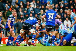 Jack Maunder of Exeter Chiefs is tackled by Levi Douglas of Bath Rugby - Mandatory by-line: Ryan Hiscott/JMP - 03/11/2018 - RUGBY - Sandy Park Stadium - Exeter, England - Exeter Chiefs v Bath Rugby - Premiership Rugby Cup