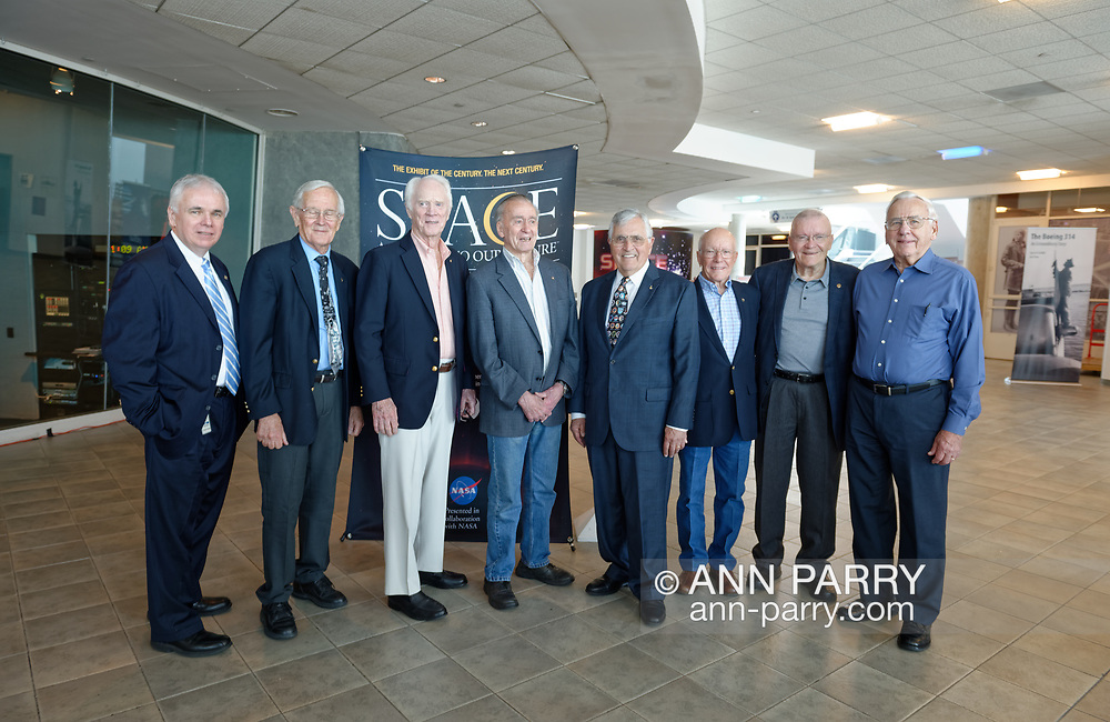 Garden City, New York, U.S. June 6, 2019. L-R, ANDREW PARTON, President of Cradle of Aviation Museum; CHARLIE DUKE, Apollo 16 Lunar Module Pilot; RUSTY SCHWEICKART, Apollo 9 Lunar Module Pilot; WALTER CUNNINGHAM, Apollo 7 Lunar Module Pilot; HARRISON SCHMITT, Apollo 17 Lunar Module Pilot; GERRY GRIFFIN, Apollo Flight Director; FRED HAISE, Apollo 13 Lunar Module Pilot; and MILTON WINDLER, Apollo Flight Director, pose for group photo at Cradle of Aviation Museum's Apollo Astronauts Press Conference during its day of events celebrating 50th Anniversary of Apollo 11.