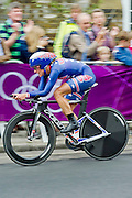 Kirstin Armstrong of the USA overtakes Marianne Vos to take the Gold medal. The Women's time trial reaches the 500m to go mark near Hampton Court, London, UK, 01 Aug 2012. Guy Bell, guy@gbphotos.com