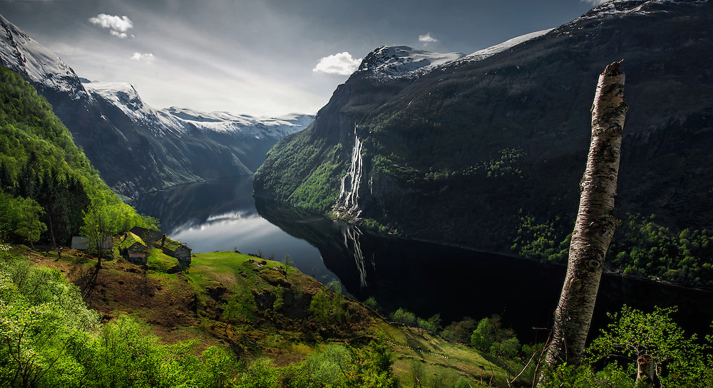 Geiranger, norway, fjord, sping, green, mountains, max rive, seven sisters waterfall