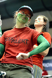 20 March 2010: Washington University students applied the paint and dressed in the team colors to cheer on the teams trip to the Final Four. The Flying Dutch of Hope College fall to the Bears of Washington University 65-59 in the Championship Game of the Division 3 Women's NCAA Basketball Championship the at the Shirk Center at Illinois Wesleyan in Bloomington Illinois.