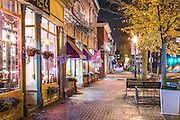 The Maine Street shopping district as seen on a rainy night in October.