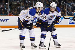 March 19, 2011; San Jose, CA, USA;  St. Louis Blues defenseman Alex Pietrangelo (27) talks to center T.J. Oshie (74) before a face off against the San Jose Sharks during the first period at HP Pavilion. San Jose defeated St. Louis 5-3. Mandatory Credit: Jason O. Watson / US PRESSWIRE