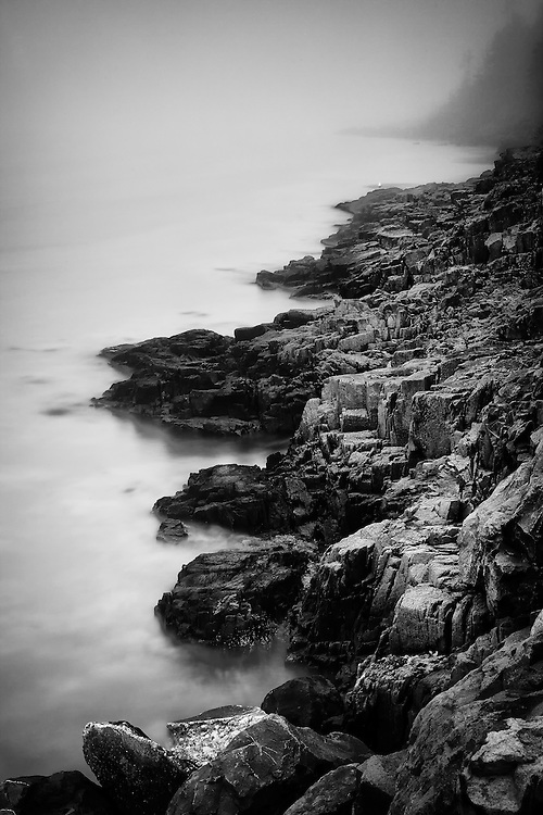 Basalt formations on the Digby Island. Overlooking the Bay of Fundy. Shot on a foggy summer morning.