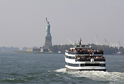 October 1, 2008; New York, NY, USA;  A ferry boat takes fans to the press conference announcing the December 6, 2008 fight between Oscar De La Hoya and Manny Pacquaio.  The two fighters will meet at the MGM Grand Garden Arena.