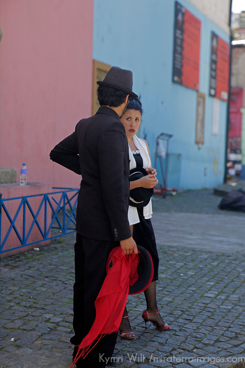 South America, Argentina, Buenos Aires. Tango performers of La Boca neighborhood.