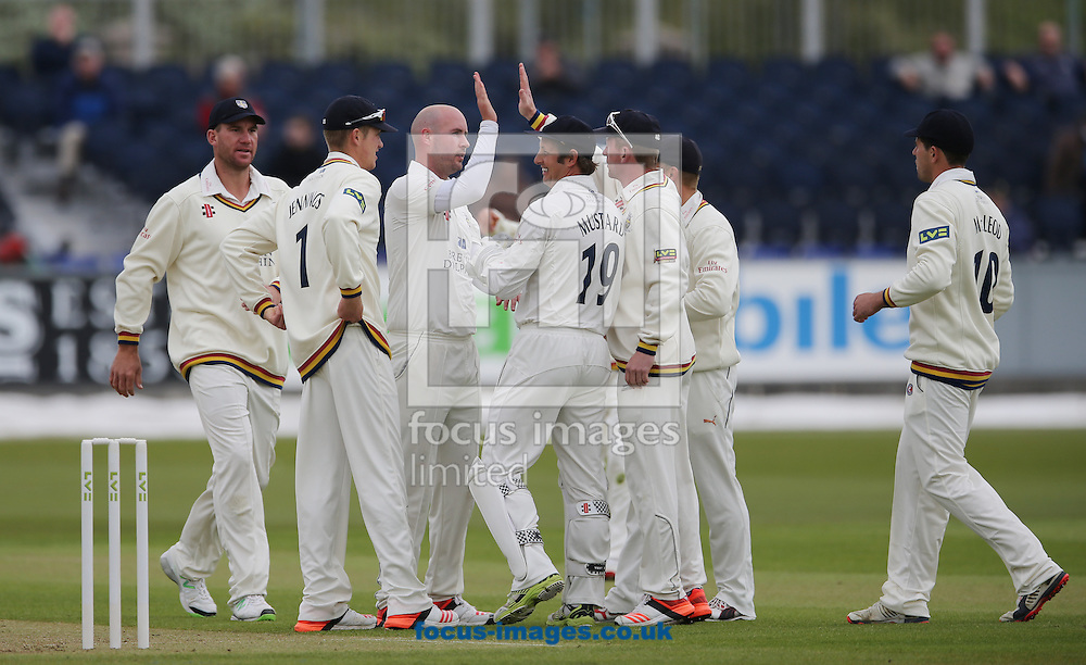 Chris Rushworth (bald head) of Durham is congratulated on the wicket of Alex Hales (not shown) of Nottinghamshire during the LV County Championship Div One match at Emirates Durham ICG, Chester-le-Street<br /> Picture by Simon Moore/Focus Images Ltd 07807 671782<br /> 10/05/2015