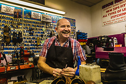 Shoe repair and key cutter Martin, 52, talks with Bild journalist Philip Fabian about Brexit in his Charing Cross shop in London. London, January 16 2019.