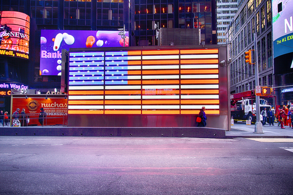 A neon US Flag in Times Square
