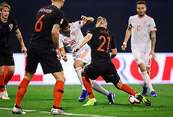 Marco Asensio of Spain vs Domagoj Vida of Croatia during the UEFA Nations League football match between Croatia and Spain, on November 15, 2018, at the Maksimir Stadium in Zagreb, Croatia. Photo by Morgan Kristan / Sportida