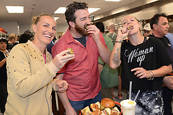 March 7, 2017 - Indian Wells, California, United States - SVETLANA KUZNETSOVA, CHRISTIAN PAGE (of Cassell's Hamburgers) and BETHANIE MATTEK-SANDS at a media event promoting the dining options at the BNP Paribas Open tennis tournament. (Credit Image: © Christopher Levy via ZUMA Wire)