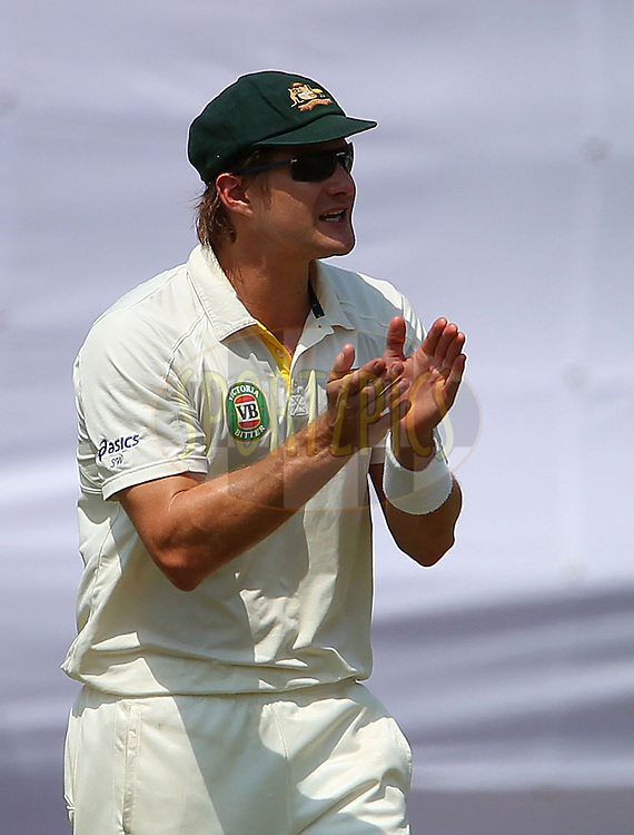Shane Watson of Australia during day 2 of the 4th Test Match between India and Australia held at the Feroz Shah Kotla stadium in Delhi on the 23rd March 2013..Photo by Ron Gaunt/BCCI/SPORTZPICS ..Use of this image is subject to the terms and conditions as outlined by the BCCI. These terms can be found by following this link:..http://www.sportzpics.co.za/image/I0000SoRagM2cIEc