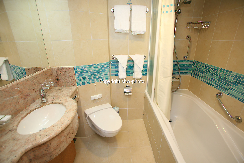 The launch of Royal Caribbean International's Oasis of the Seas, the worlds largest cruise ship..Staterooms.Aquatheater suite with balcony, bathroom