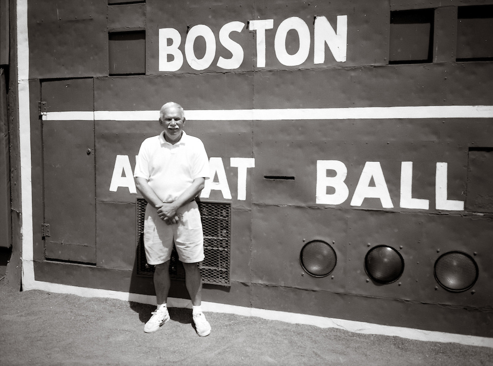 Dad in front of the Big Green Wall at Fenway Park   June 2000