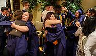 6月13日,美国洛杉矶,毕业生在毕业典礼上拥抱。当日,美国大学预备高中 (AUP)举办该校第一届毕业典礼,共十二名毕业生。新华社发 (赵汉荣摄)<br /> Students of American University Preparatory School participate in a graduation ceremony at a hotel in downtown Los Angeles, the United States, on Saturday, May 27, 2017. American University Preparatory School is a private, for-profit, four-year, co-educational boarding and day college preparatory high school for grades 9-12 located in Los Angeles, California, at the center of downtown Los Angeles. (Xinhua/Zhao Hanrong)