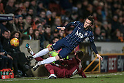 Ben Coker (Southend United) is tackled by James Meredith (Bradford City) during the Sky Bet League 1 match between Bradford City and Southend United at the Coral Windows Stadium, Bradford, England on 16 February 2016. Photo by Mark P Doherty.