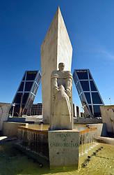 THEMENBILD - Madrid ist seit Jahrhunderten der geographische, politische und kulturelle Mittelpunkt Spaniens (siehe Kastilien) und der Sitz der spanischen Regierung. Hier residieren auch der König, ein katholischer Erzbischof sowie wichtige Verwaltungs- und Militärbehörden. Als Handels- und Finanzzentrum hat die Stadt nationale und internationale Bedeutung. Hier im Bild Denkmal fuer Jose Calvo Sotelo, vor Puerta de Europa, auch Torres Kio, mit der Hauptverwaltung, Zentrale der Bank Bankia und Realia, Plaza Castilla // THEMATIC PACKAGES - Madrid is the capital and largest city of Spain. The population of the city is roughly 3.3 million and the entire population of the Madrid metropolitan area is calculated to be around 6.5 million. It is the third-largest city in the European Union, after London and Berlin, and its metropolitan area is the third-largest in the European Union after London and Paris. The city spans a total of 604.3 km2. EXPA Pictures © 2014, PhotoCredit: EXPA/ Eibner-Pressefoto/ Weber<br /> <br /> *****ATTENTION - OUT of GER*****