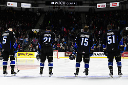 The Saint John Sea Dogs in Game 4 of the 2017 MasterCard Memorial Cup against the Erie Otters on Monday May 22, 2017 at the WFCU Centre in Windsor, ON. Photo by Aaron Bell/CHL Images