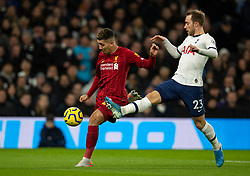 LONDON, ENGLAND - Saturday, January 11, 2020: Liverpool's Roberto Firmino (L) and Tottenham Hotspur's Christian Eriksen during the FA Premier League match between Tottenham Hotspur FC and Liverpool FC at the Tottenham Hotspur Stadium. (Pic by David Rawcliffe/Propaganda)