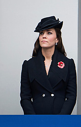 © London News Pictures. 09/11/2014. London, UK. Catherine Duchess of Cambridge looking over during the Remembrance Ceremony at the Cenotaph war memorial in London, United Kingdom, on November 09, 2014. Royalty and Politicians joined the rest of the county in honouring the war dead by gathering at the iconic memorial to lay wreaths and observe two minutes silence. Photo Credit: Ben Cawthra/LNP