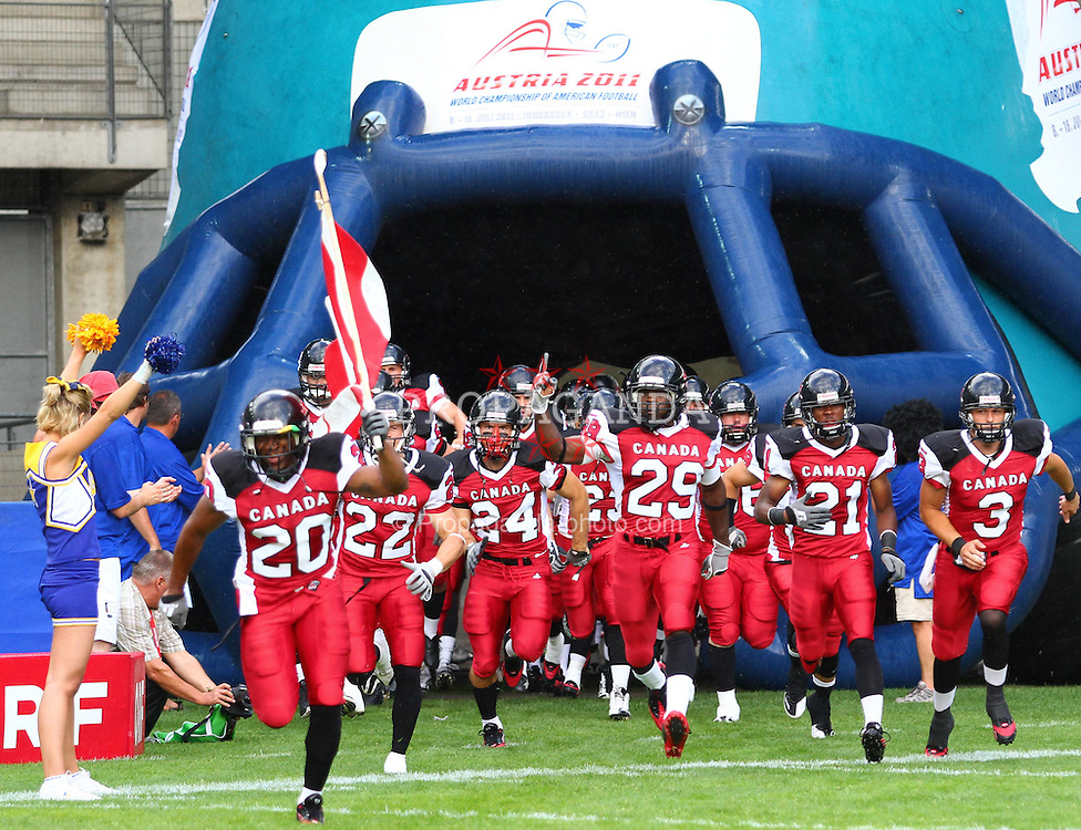 11.07.2011, UPC Arena, Graz, AUT, American Football WM 2011, Group B, Canada (CAN) vs Austria (AUT), im Bild team canada enters the field // during the American Football World Championship 2011 Group B game, Canada vs Austria, at UPC Arena, Graz, 2011-07-11, EXPA Pictures © 2011, PhotoCredit: EXPA/ T. Haumer